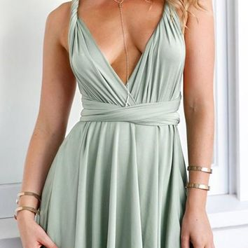 Light Green Draped Spaghetti Strap Cross Back Tie Back Cleavage Mini Dress