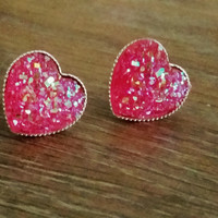 Druzy earrings- Hot pink heart drusy silver tone stud druzy earrings