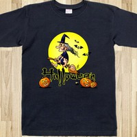 HALLOWEEN, WITCH ON A BROOM, BATS AND PUMPKINS