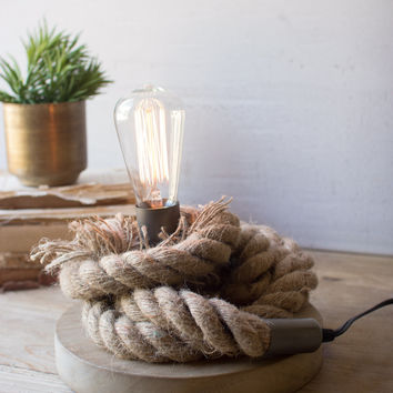 Rope Lamp with Wood Base