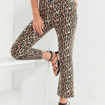BDG Kick Flare High-Rise Cropped Jean – Leopard | Urban Outfitters