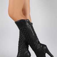 Wild Diva Lounge Quilted Lug Chunky Heel Knee High Boots