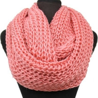 Big Thick Warm and Cozy Solid Crochet Peach Infinity Scarf