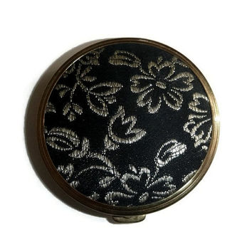 50's Vintage Floral Compact Black & Silver Spring Flowers Compact Rex Fifth Avenue Vanity Case Old Hollywood Glam Powder Compact Display