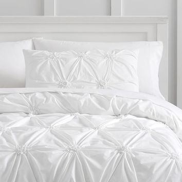 Organic Ruched Rosette Duvet Bedding Set with Duvet Cover, Duvet Insert, Sham, Sheet Set + Pillow Inserts