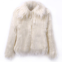 Cream Vintage Style Faux Fur Coat