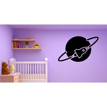 Wall Decal Planet Spaceship Space Rocket Universe Vinyl Sticker (ed1853)