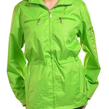 I5 Womens Water Resistant Rain Parka (Apple Green)