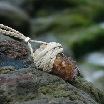 Ametrine Spirit Quartz Braided Leather Wrapped Necklace