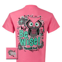 Girlie Girl Originals Be Wise Proverbs 16:16 Owl Cross Christian Bright T Shirt