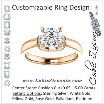 Cubic Zirconia Engagement Ring- The Jennifer Elena (Customizable Cushion Cut featuring Saddle-shaped Under Halo)