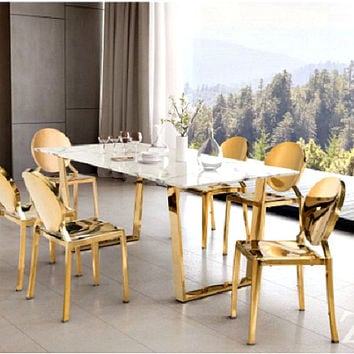 Augusta Dining Table | Stone & Gold