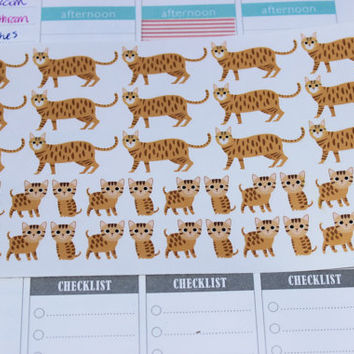 Set of 39 Bengal Cat Stickers, Perfect for Planners and Scrapbooks!
