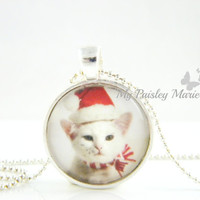 Christmas Cat Necklace , Glass Pendant Necklace , Glass Bezel Pendant , Glass Art Pendant Photo Pendant