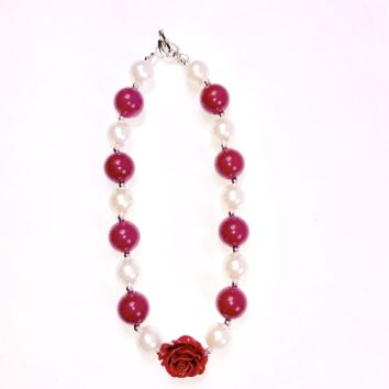RTS Burgundy & Pearl Chunky Necklace