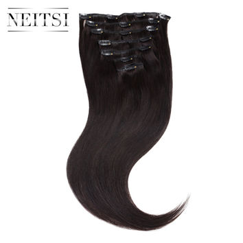 "Neitsi 20"" 1B# Black 100g 16Clips Brazilian Virgin Remy Clip In human Hair Extensions 7pcs/set Straight Clip In For a full head"