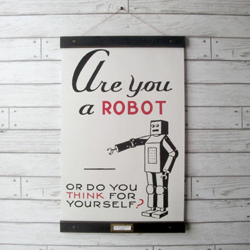 "Canvas School Science Chart Vintage Pull Down Style with Oak Wood Poster Print Hanger  - Are You A Robot (17""x27"")"