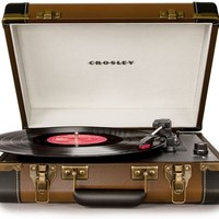 Crosley Executive Portable USB Turntable CR6019A-BR - Plays Records and Converts Records to Digital - Brown & Black