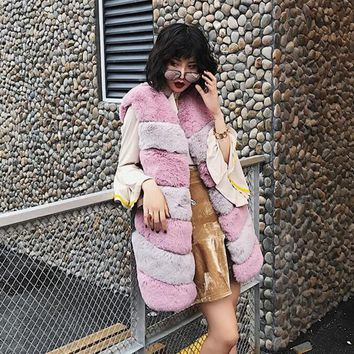 Chic Striped Long Hairy Shaggy Faux Fur Vest 2017 Women Contrast Color O Neck Faux Fur Sleeveless Coat Mid Long Outerwear
