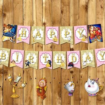 Beauty and the Beast Banner Baby Shower Birthday Party Decorations Kids Event Party Supplies Party Candy Bar Princess Banner