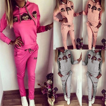 Women 2pcs Tracksuit Hoodies Sweats Sweatshirt Pants Sets Sport Wear Casual Suit [9305905607]