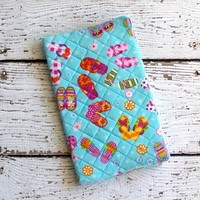 2014-2015 Pocket Planner Cute Flip Flop Teal Blue Fabric Quilted
