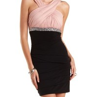 Rhinestone-Embellished Ruched Bodycon Dress - Black Combo