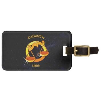Libra Zodiac Birthday Sign With Your Custom Name Luggage Tag