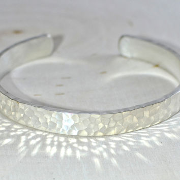 Hammered sterling silver cuff bracelet with massive sparkle