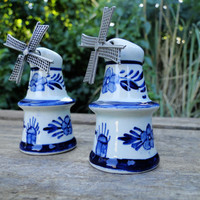Dutch Windmill Salt and Pepper Shakers Blue by quirkyessentials