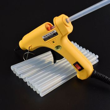NEWACALOX 20W EU PLUG Hot Melt Glue Gun with Free 20pc 7mm Glue Stick Industrial Mini Guns Thermo Electric Heat Temperature Tool