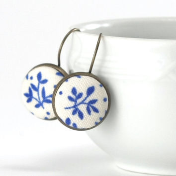 Antique Drop Earrings Blue Twigs Romantic Fabric Covered Buttons Jewelry Leverback Bridal Earring Set