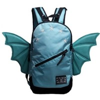 CrazyPomelo Trendy Bat Wings Canvas Large Travelling Backpack (Blue)