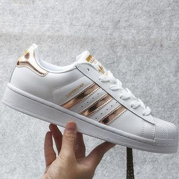 Adidas Fashion Shell-toe Flats Sneakers Sport Shoes White Golden