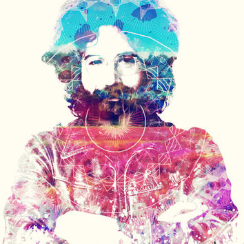 HIPPI3 (Jerry Garcia of The Grateful Dead) - Digital Art Print - MULTIPLE SiZES AVAiLABLE