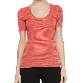 Space-dye Cashmere Short-Sleeve Top, Coral - Michael Kors