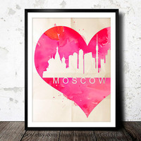Moscow Russia Russian poster - Art Print - Wall Art - skyline poster Moscow Russia poster