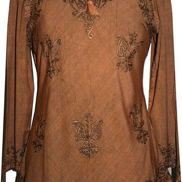 Embroidered Front V Neck Vintage Blouse