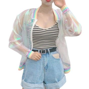 Rainbow Holographic Jacket Raincoat