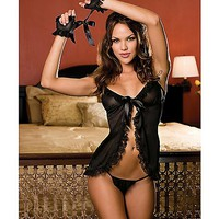 Open Babydoll and Crotchless Thong Set - Spencer's