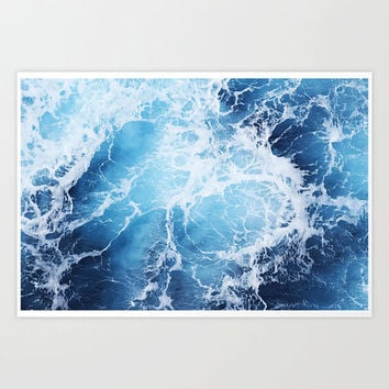 Blue Ocean Surf - Photograph Print, Nautical Sea Waves Home Decor Hanging, Coastal Seascape Interior Wall Hanging. In 8x10 11x14 16x20 20x30