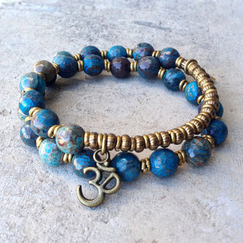 "Blue Crazy Lace Agate ""Joy"" 27 Bead Wrap Mala Bracelet"