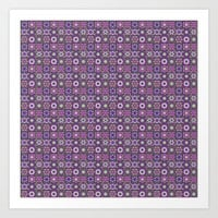 Purple and Green Fractal Collage Pattern Art Print by Hippy Gift Shop