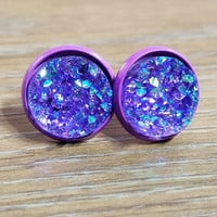 Druzy earrings- Purple drusy - Purple stud druzy earrings