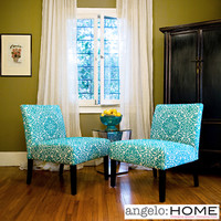 angelo:HOME Bradstreet Damask Turquoise Blue Armless Chairs (Set of 2)