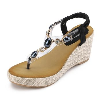 MYTANG Womens Middle Wedge Heel Summer Shoes Flip Sandals Crystal Diamond Bead
