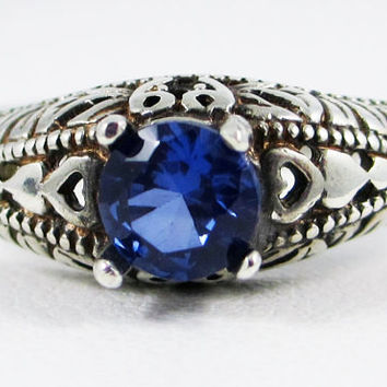 Oxidized Blue Sapphire Ring Sterling Silver, September Birthstone Ring, Blue Sapphire Filigree Ring, 925 Oxidized Sterling Filigree Ring