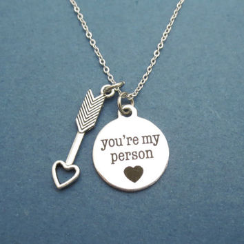 Arrow, Cupid, Heart, You're my person, Grey's Anatomy, Youre my person, Necklace, Greys Anatomy, Love, Friendship, Gift, Jewelry