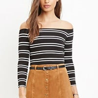 Striped Off-the-Shoulder Crop Top