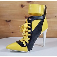 "CR Yellow Black Pointy Toe Lace Up Sporty 4.5"" High Heel Ankle Boots"